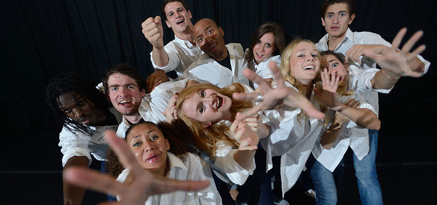 Theatre students mugging for the camera